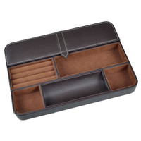 Max 6 Compartment Valet Tray and Leatherette Organizer Box for Wallets, Coins, Keys, and Jewelry