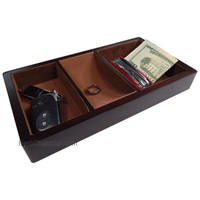 Woltar Wooden Valet Tray with 3 Compartment Leatherette Organizer Box for Wallets, Coins, Keys, and Jewelry
