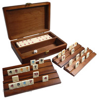 Tracy Mini Travel Rummy Tile Board Game in Wood Case with Wooden Racks and Urea Tiles
