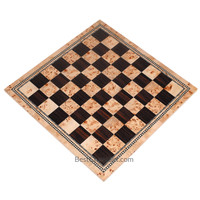 Atlas Tournament Chess Board with Inlaid Burl and Ebony Wood - Board Only - 21 Inch