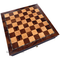Vada Burl Wood Inlaid Chess Cabinet with Drawer, Medium 13 x 13 Inch Set, Board Only, No Pieces
