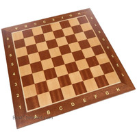 Requa Chess Board with Inlaid Wood and Ranks and Files (Numbers and Letters on Side) - Board Only – 15 Inch