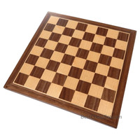 Chronos Chess Board with Inlaid Walnut Wood, Small 11 x 11 Inch, Board Only