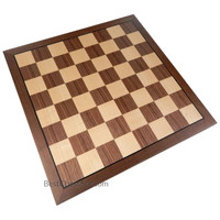 Kratos Chess Board with Inlaid Walnut Wood – Board Only – 15 Inch