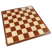 Pallas Rounded Corners Chess Board with Inlaid Mahogany Wood, Large 17 x 17 Inch, Board Only