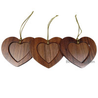 Embarcadero Walnut Wood Heart Photo Christmas Ornament, Pack of 3