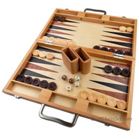 Duboce Inlaid Walnut, Beech, Sapele, and Bass Wood Backgammon Board Game, Large 17 Inch Set