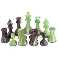 Zeus High Polymer Heavy Weighted Chess Pieces with 3.7 Inch King and Extra Queens, Pieces Only, No Board