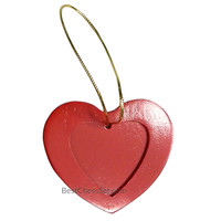 Bryant Red Walnut Wood Heart Photo Christmas Ornament, Pack of 3