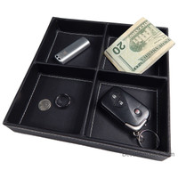 Kalin 4 Compartment Valet Tray and Leatherette Organizer Box for Wallets, Coins, Keys, and Jewelry