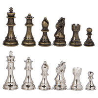 Frankfort Silver and Bronze Metal Chess Pieces with 3.75 Inch King and Extra Queens, Pieces Only, No Board