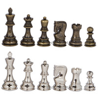Lowell Silver and Bronze Metal Chess Pieces with Extra Queens – Pieces Only – No Board – 3.75 Inch King