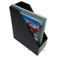Larkin Black Wood Magazine Holder and Folder Organizer