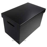 Leavenworth Black Wood Multipurpose Storage Box with Lid, Medium