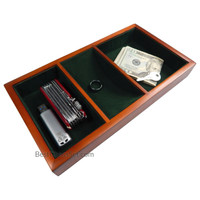 Walter Wooden Valet Tray with 3 Compartment Leatherette Organizer Box for Wallets, Coins, Keys, and Jewelry