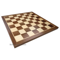 Monroe Extra Thick Chess Board with Inlaid Walnut and Maple Wood, Large 18 x 18 Inch, Board Only