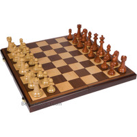 Abigail Chess Inlaid Wood Folding Board Game with Pieces, Extra Large 21 Inch Set