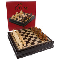 Avi Chess Inlaid Black Wood Board Game with Weighted Wooden Pieces and Tray - Large 18 Inch Set