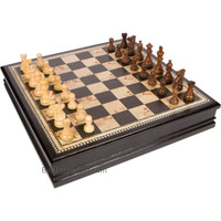 Adrienne Chess Inlaid Burl Wood Board Game with Weighted Wooden Pieces, Extra Large 19 x 19 Inch Set