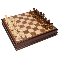 Catherine Chess Inlaid Wood Board Game with Wooden Pieces, Large 15 x 15 Inch Set