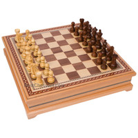 Helen Chess Inlaid Wood Board Game Set with Weighted Wooden Pieces, Large 15 x 15 Inch