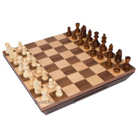 Aria Chess Inlaid Wood Board Game with Weighted Wooden Pieces and Tray, Large 16 x 16 Inch Set