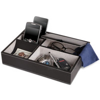 Ryan 10 Inch Valet Tray - 5 Compartment Leatherette Organizer Box for Wallets, Coins, Keys, and Jewelry