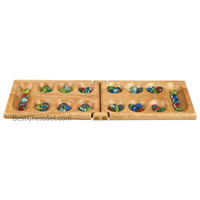 Melissa Wood Folding Mancala Board Game, 17.5 Inch Set