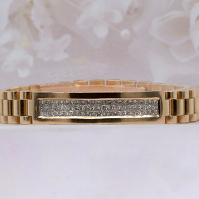 Men's 18 KT Yellow Gold Diamond Bracelet