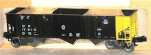 Weaver UP (black) 3 bay ribbed hopper car, 3 rail or 2 rail