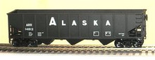 Weaver Alaska RR  3 bay ribbed hopper car, 3 rail or 2 rail