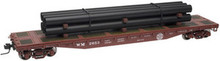 Atlas O WM  50' flat car with pipe load, 3 rail or 2 rail