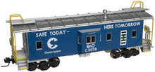 Atlas O Chessie Safety (blue) Bay window caboose, 2 rail