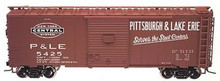 Atlas O P&LE (tuscan, 1950's-70's)  40' steel box car,  3 rail or 2 rail