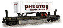 Weaver Preston trailer on N&W flat car, 3 or 2 rail