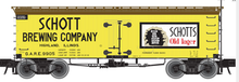 Atlas O Schott Brewing co 36' wood reefer, 3 rail or 2 rail