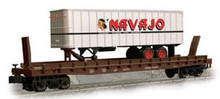 Weaver NAVAJO  trailer on UP 50' piggyback flat car