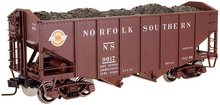 Atlas O Original Norfolk Southern (brown) diecast 2 Bay Fishbelly Hopper, 3 rail or 2 rail