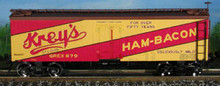 Atlas O Kreys Ham and Bacon 36' reefer, 3 or 2 rail