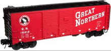 Atlas O GN (red) 1937 style AAR 40' DD steel box car, 3 rail or 2 rail