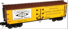 Atlas O Central  Creamery 40' wood reefer, 3 rail or 2 rail