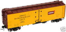 Atlas O  Armour  40'  steel reefer, 3 or 2 rail