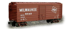 Weaver MILW ribbed side box car, classic tuscan w logo, smaller lettering