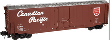 Atlas O CP (tuscan, newsprint scheme)  50' plug door box car, 3 rail or 2 rail