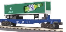 MTH Railking  Flat Car with Rolling Rock Trailer, 3 rail