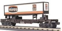 MTH Railking  Flat Car with Hires Rootbeer Trailer, 3 rail