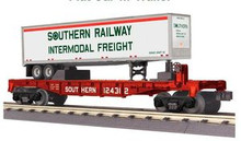 MTH Railking Flat Car with Southern Trailer, 3 rail