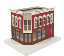 MTH 30-90353 O gauge Taylors Video Shop 2 story corner building w/blinking sign