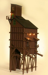 "Golden Gate Depot 22"" high OGLE coaling tower, brown"