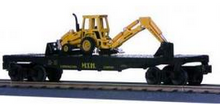 MTH Rail King MTH Construction Flat Car w/Ertl Front Backhoe, 3 rail
